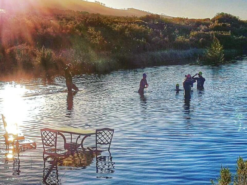 Open water swim at private wine farm