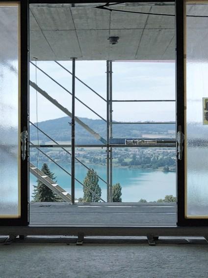 Villa Pearl Aussicht von der Baustelle, durch die Schiebtüren von 4B
