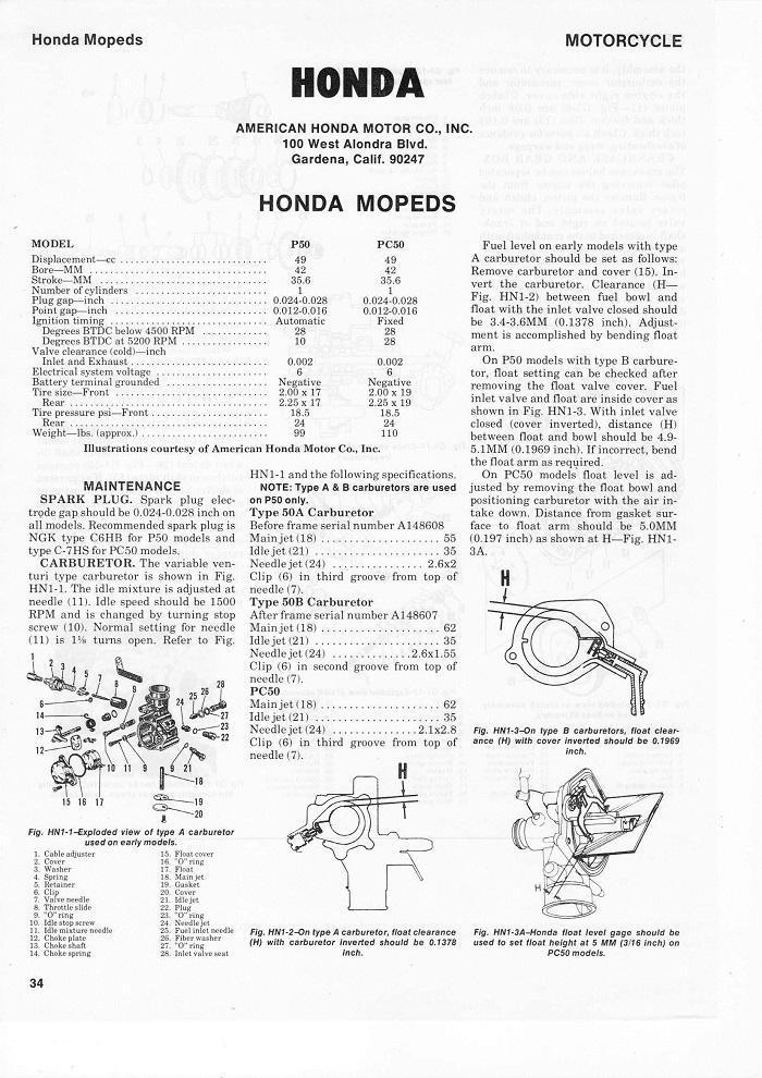 Honda P50 Service manual