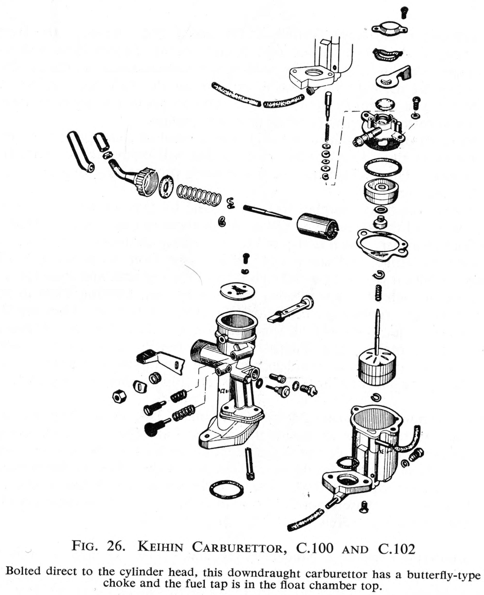 hight resolution of boh keihin carburettor honda c100