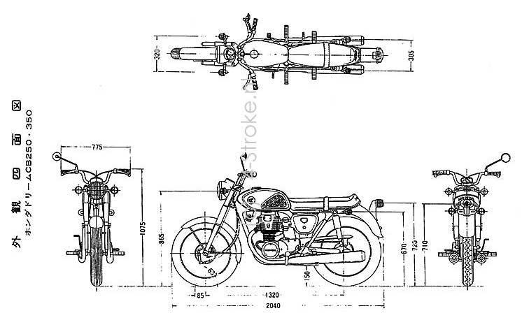 Honda CB250 / CB350 Dimensions