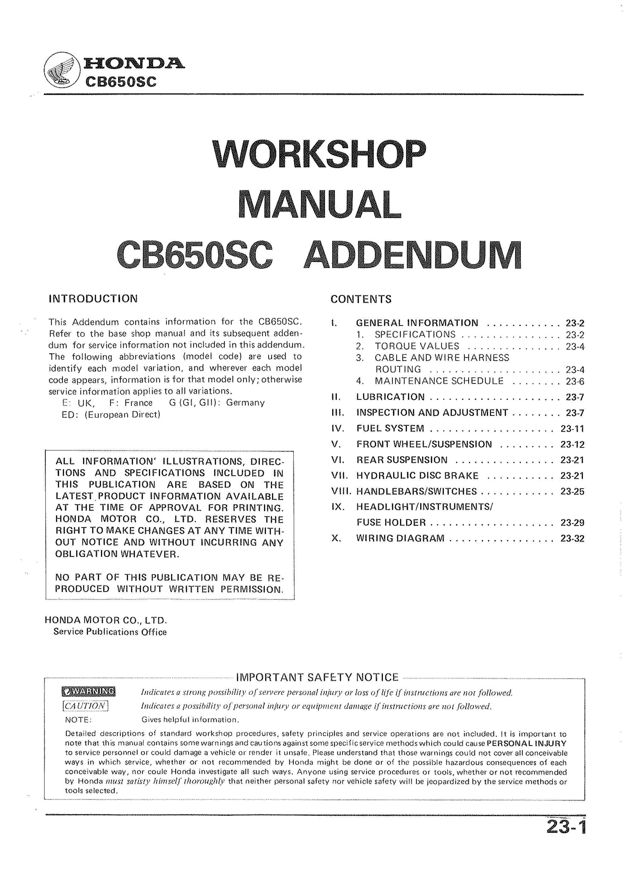hight resolution of workshop manual for honda cb650sc addendum