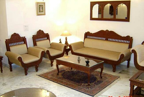 wooden sofa designs for living room bed chaise perth 5 seater carved set at rs 180000 ट क स फ