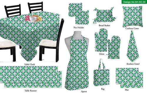 kitchen linens pre assembled cabinets online multicolor geometrical printed linen set size multi