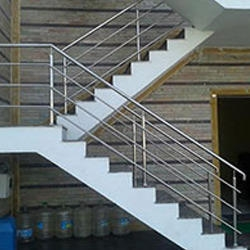 Stainless Steel Staircase Railing Designs India   Stainless Handrails For Stairs   Toughened Glass   Outdoor   Mild Steel Handrail   Commercial Building   Metal