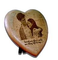 wooden engraved heart frame