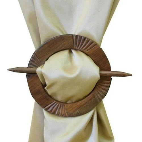 wooden curtains tie holder