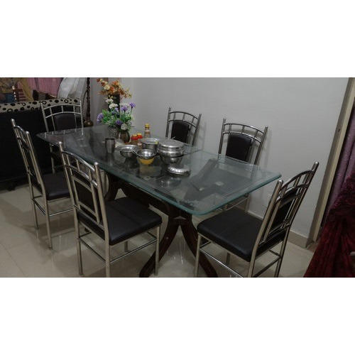 steel kitchen table remodel planner six chair stainless dining at rs 15000 set