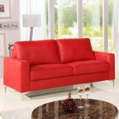 Red Leather Two Seater Sofa Bradford Sectional 2 Home Surya Industries Id 10521486930