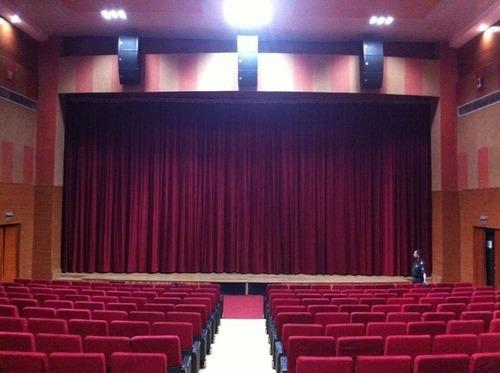 AUDITORIUM MOTORIZED STAGE CURTAINS and STAGE LIGHTING FOR