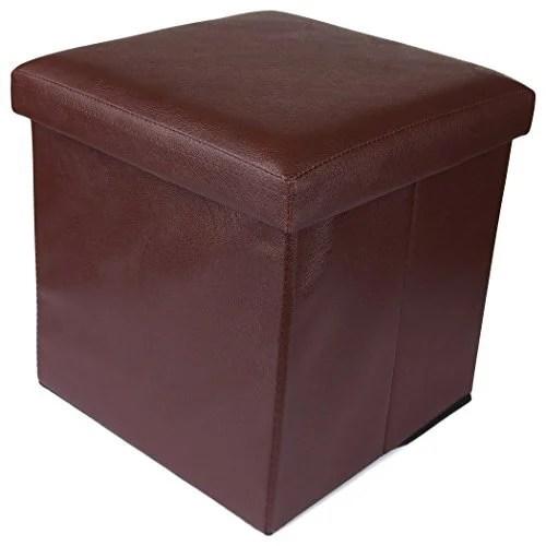 elegant brown ottoman storage box cum stool