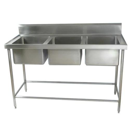 aksr glossy triple bowl stainless steel