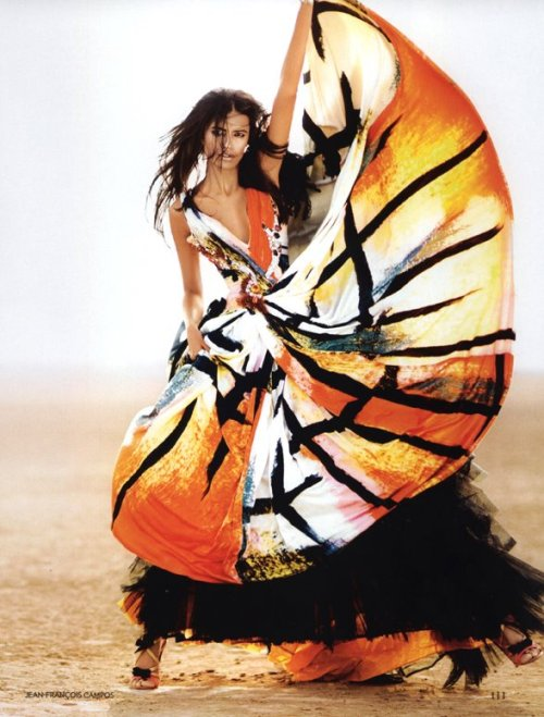 """Saffron Days"" Vogue India, May 2009 photographer: Jean-Francois Campos Lakshmi Menon black, orange, white, yellow print dress Smile: Vogue India May 2009: Lakshmi Menon"