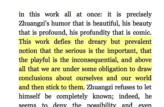 "This from Zhuangzi: The Essential Writings reminds me of a reference to Lincoln's sense of humor in a 2008 New Yorker piece: ""Those who dismiss [Obama's] centeredness as self-centeredness or his composure as indifference are as wrong as those who mistook Eisenhower's stolidity for denseness or Lincoln's humor for lack of seriousness."""