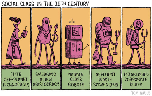 myjetpack: A recent cartoon for the Guardian. Middle class robots a.k.a bougie bots