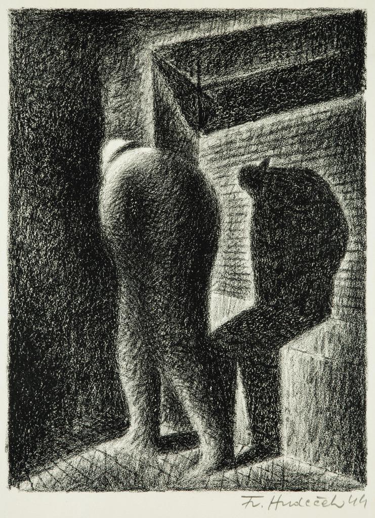 amare-habeo: František Hudeček (Czech, 1909 - 1990) Shadow of night walker,1944 Lithograph,40 x 29,5 cm