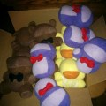 The next batch of fnaf plushies at various stages of completeness