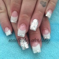 pink and white acrylic nails   Tumblr