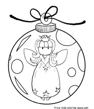 angel christmas tree decorations bauble coloring pages