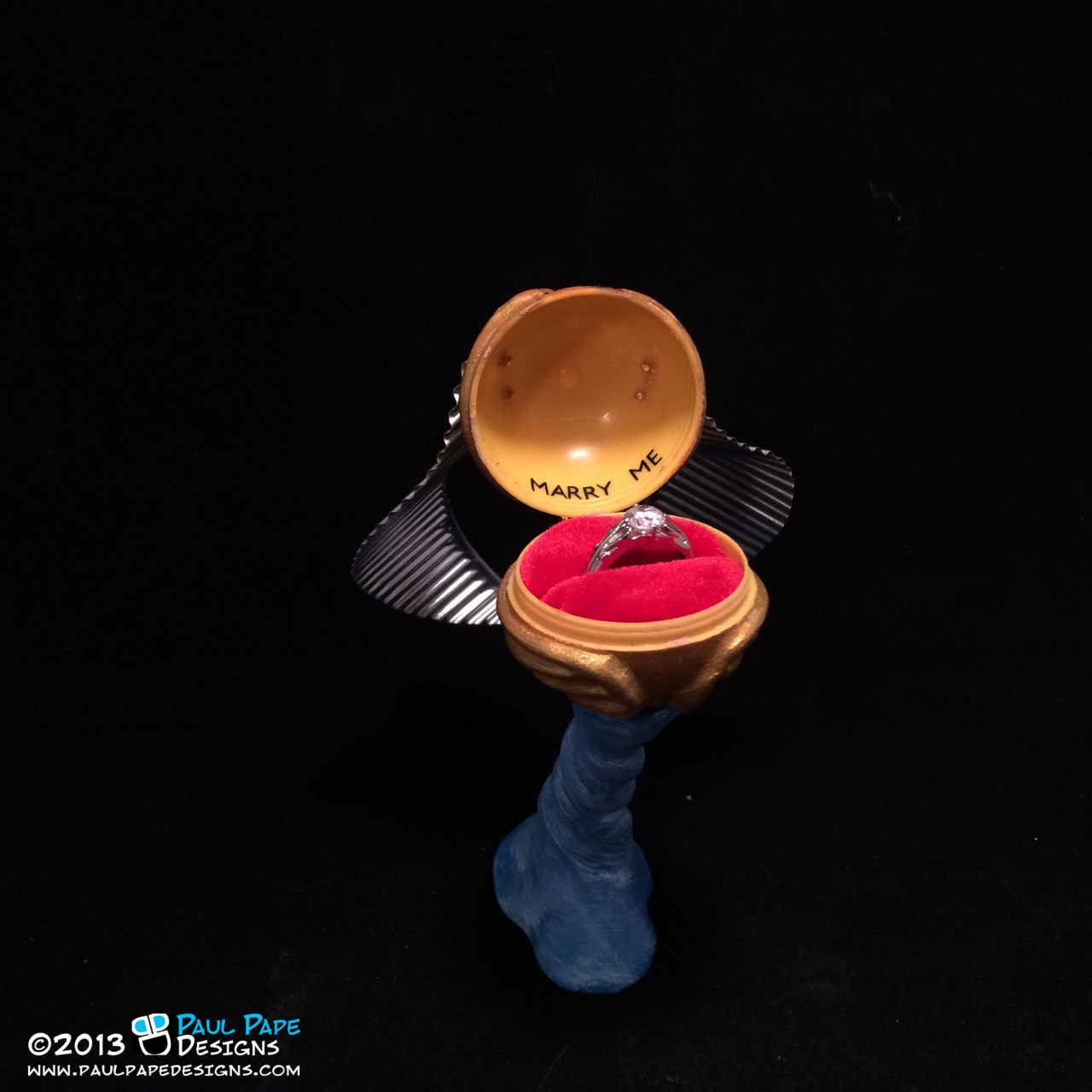 Harry Potter Golden Snitch Custom Engagement Ring Box with detachable base by Paul Pape Designs