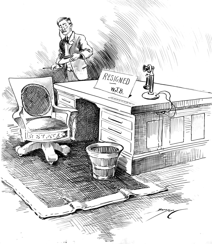 Secretary of State William Jennings Bryan Resigns