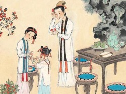 Image of Chinese cosmetics ritual, including tinted nails