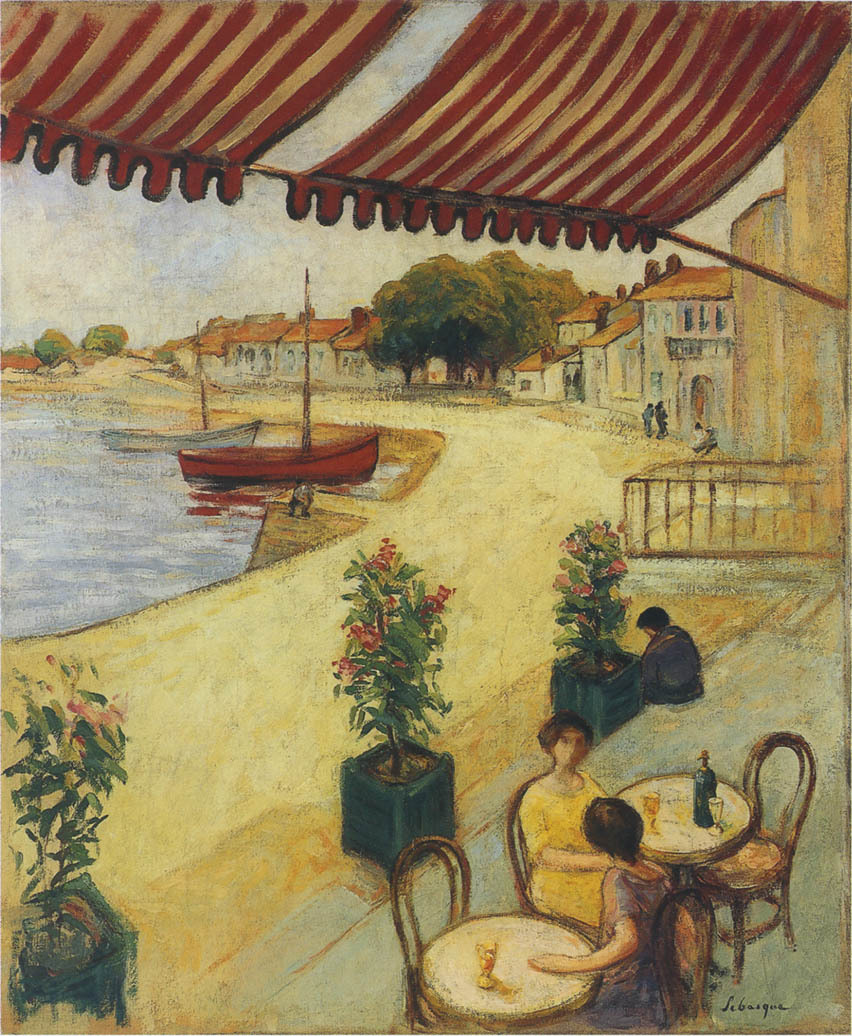 artishardgr:Henri Lebasque - Cafe sur la Port
