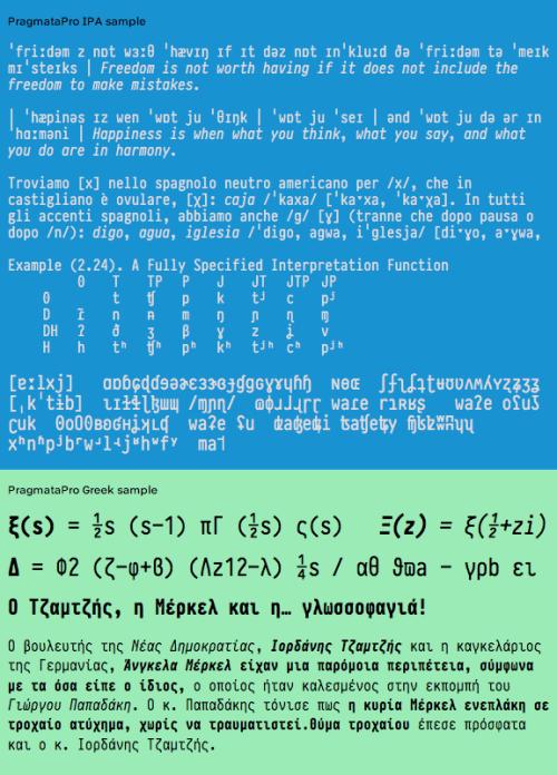 IPA alphabet of PragmataPro and Greek letters