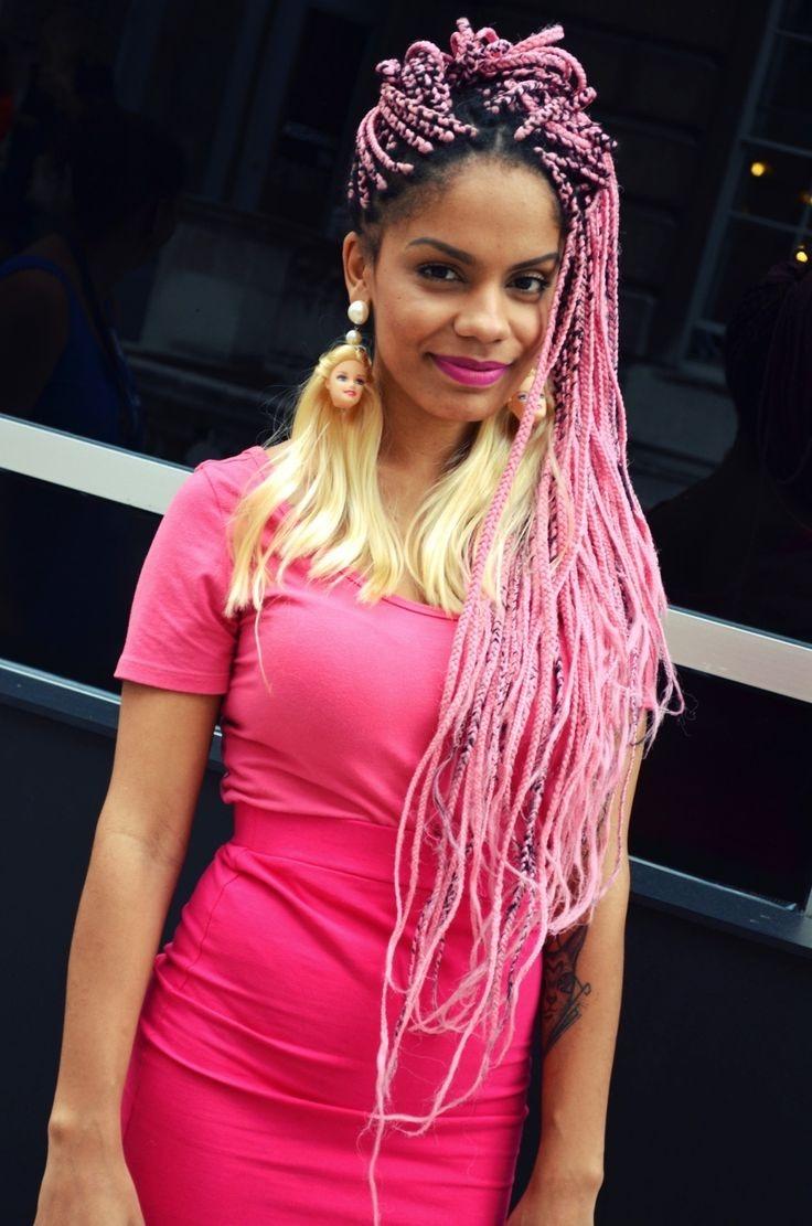 beautiful black girls pink hair natural hair box braids black babes color braids fashion