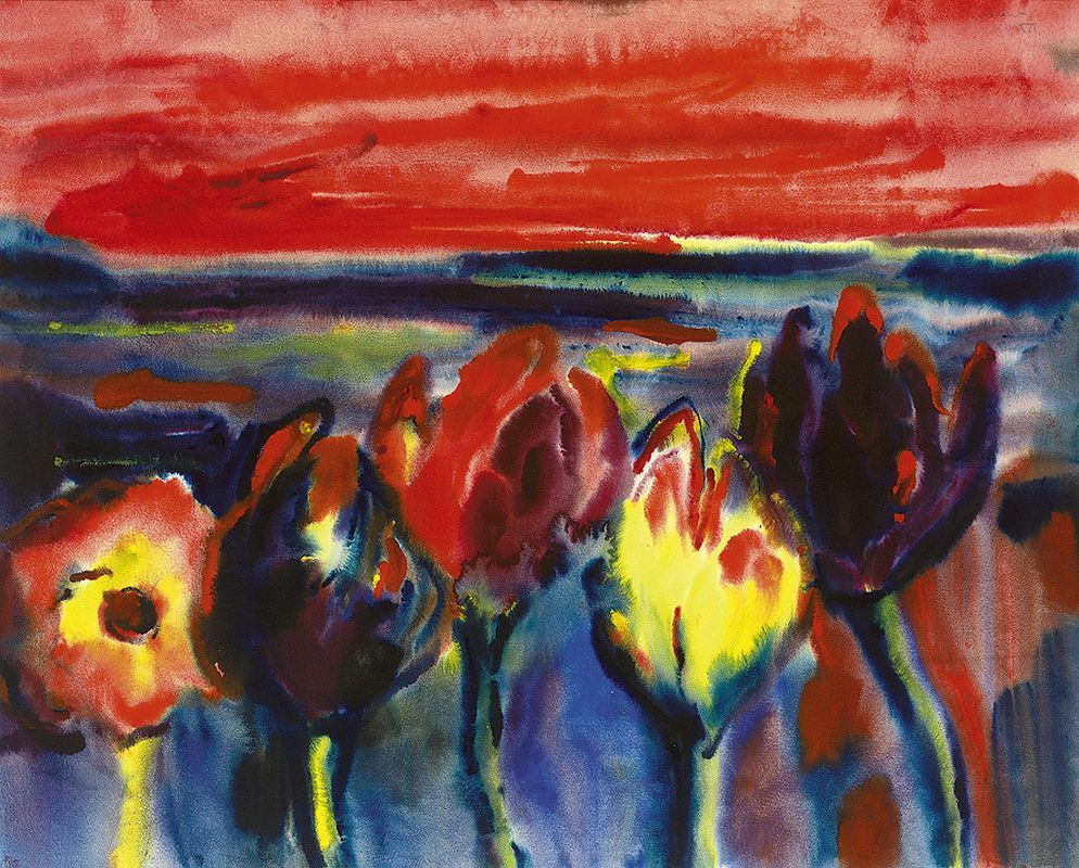 thunderstruck9: Alfred Kohler (German, 1916-1984), Tulpen vor abendlicher Landschaft [Tulips against an evening landscape], 1959. Watercolour, 48 x 59.5 cm.
