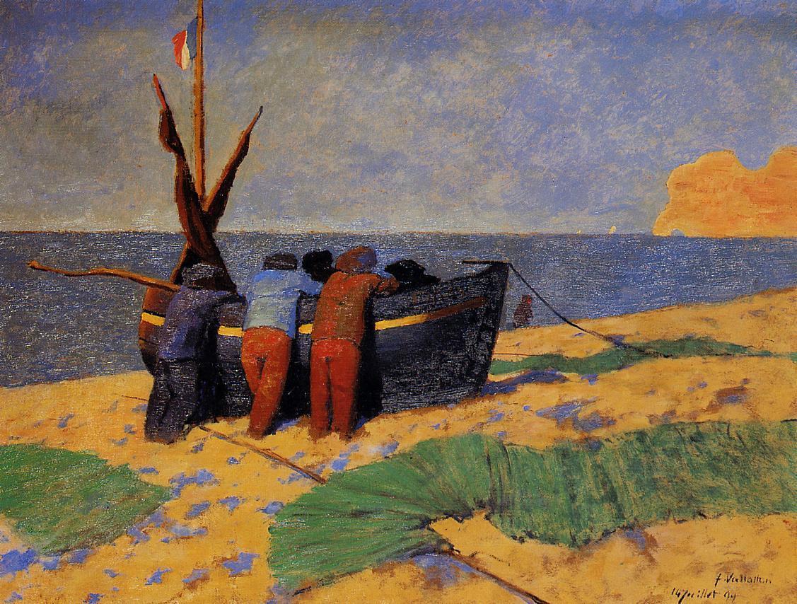 artishardgr:  Felix Vallotton - The Fourteenth of July at Etretat 1899