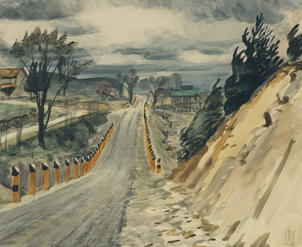 dappledwithshadow: Charles BurchfieldRoad in Early Spring1938