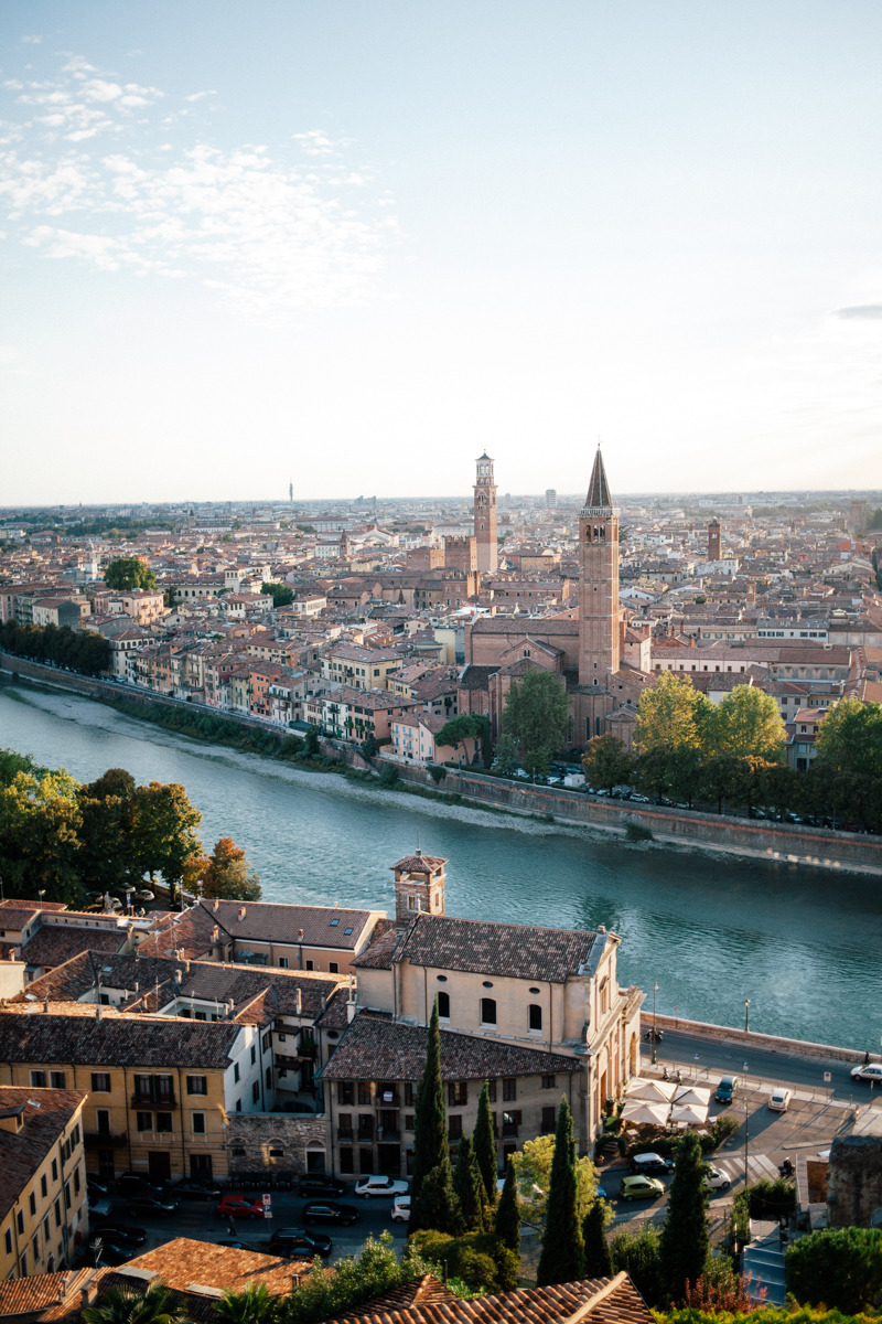 """In Verona we stayed at a beautiful campsite called """"Castel San Pietro"""", a former medieval castle which is surrounded by the ancient city wall of Verona. They have transformed the old castle into a wonderful green oasis with lots of tropical plants and cactuses. The outlook is absolute stunning."""