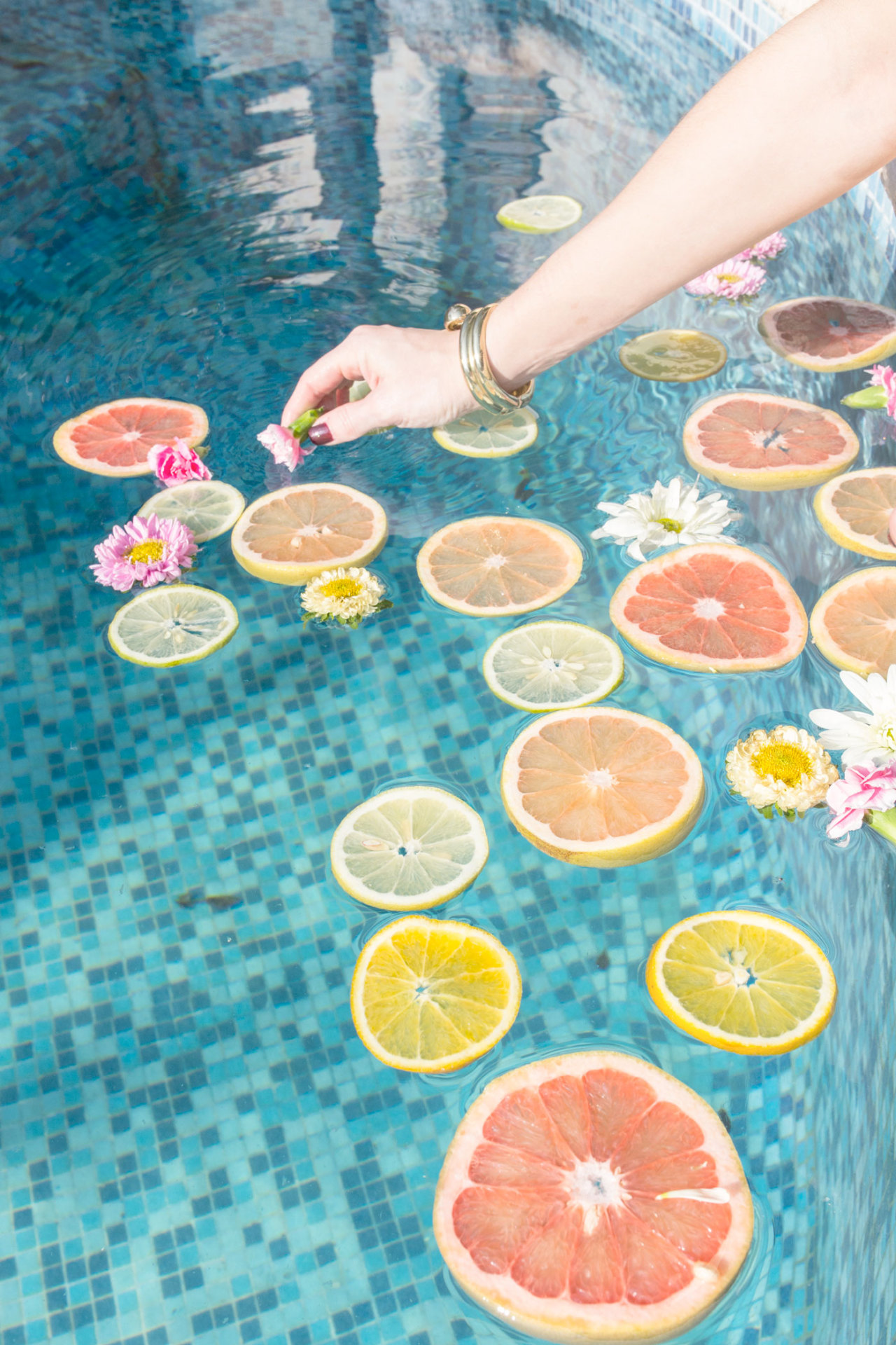 summer time and citrus by the pool