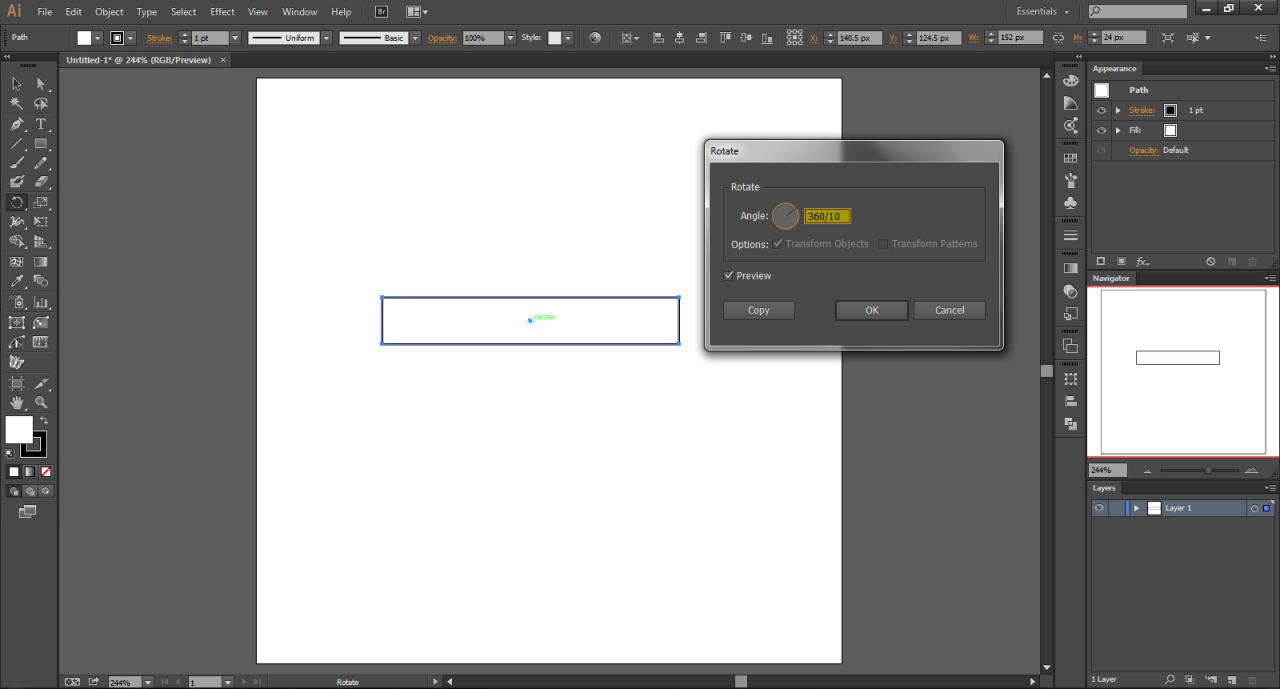 Adobe Illustrator Rotate Tool