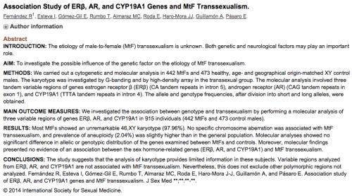 plansfornigel:  http://www.ncbi.nlm.nih.gov/pubmed/25124466 Science proves that transwomen are male down to the molecular level.  Internet erupts in fury and accuses molecules of being TERFs organized by Cathy Brennan.   Wait you need to do a study to know that males are male despite their current identity? Also is there anyone who isn't a minion or sock puppet of Cathy Brennan? Not in trans/genderqwertz fantasy land.
