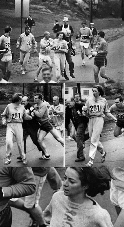 "run-eat-study-repeat:</p> <p>congenitaldisease:In 1967, Kathrine Switzer was the first woman to enter and complete the Boston Marathon as a numbered entry. She registered under the gender-neutral name of ""K.V. Switzer"". After realizing that a woman was running, race organizer Jock Semple went after Switzer shouting, ""Get the hell out of my race and give me those numbers."" however, Switzer's boyfriend and other male runners provided a protective shield during the entire Marathon. These photographs taken of the incident made world headlines.</p> <p>inspiration"