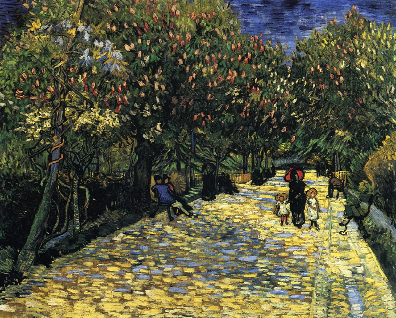 dappledwithshadow:  Vincent van GoghAvenue With Flowering Chestnut Trees At Arles1889