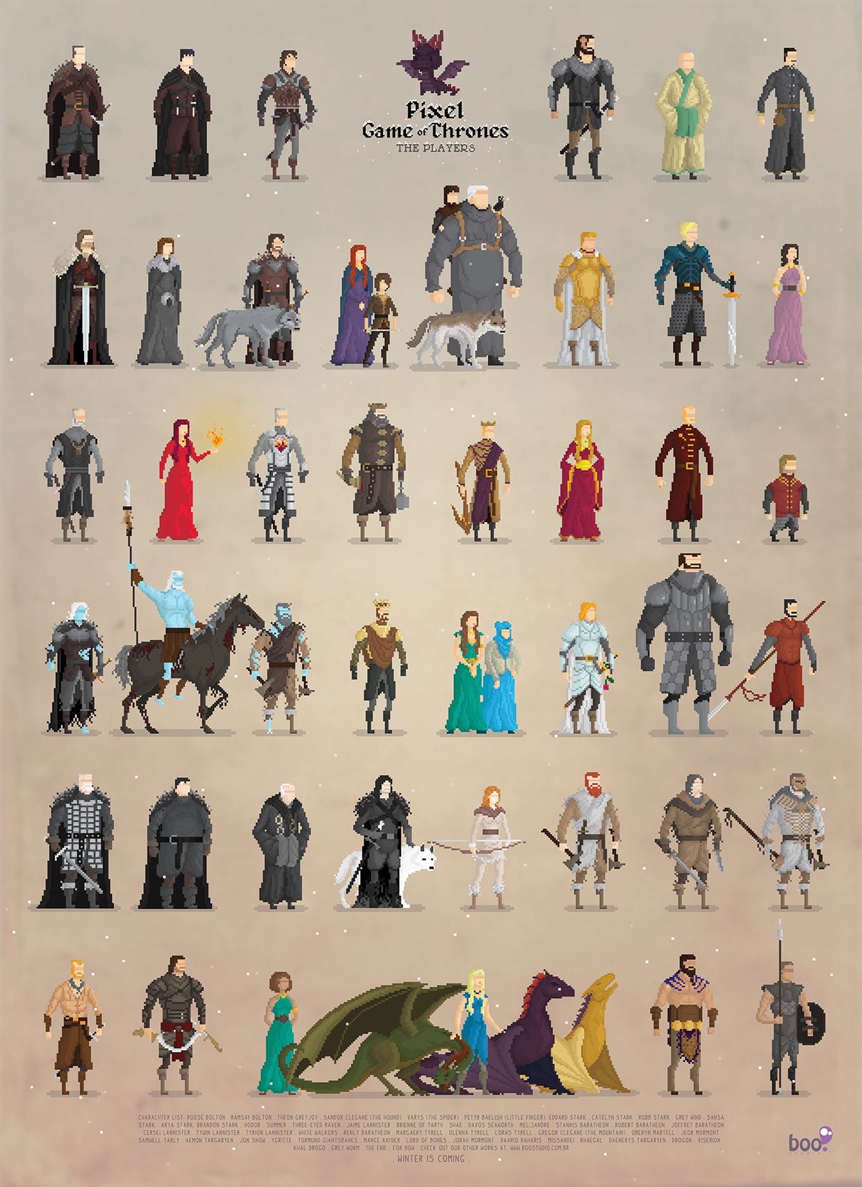 Personnage Game Of Throne : personnage, throne, Design, Television, Thrones, Pixel, Studio, Pixalry