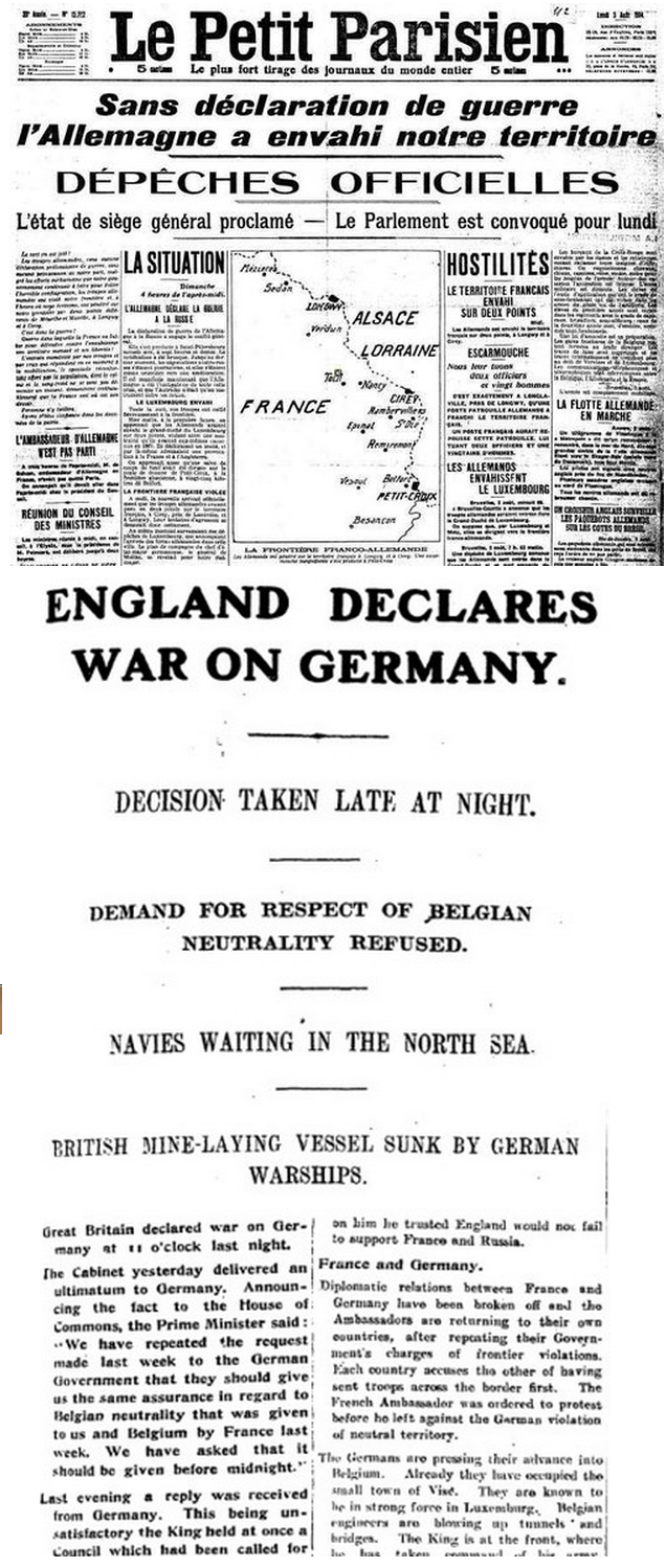 Front Pages: World War One BeginsThe images above show the