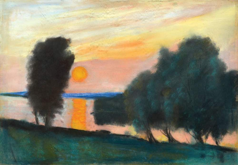 thunderstruck9:  Lesser Ury (German, 1861-1931), A Lake Landscape and Sunset. Pastel on cardboard, 35 x 50 cm.