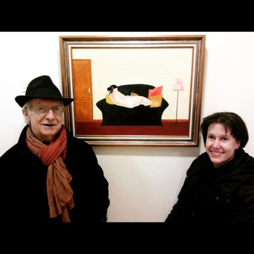 El pintor (Manuel Santos) y la modelo (servidora). Y el cuadro....