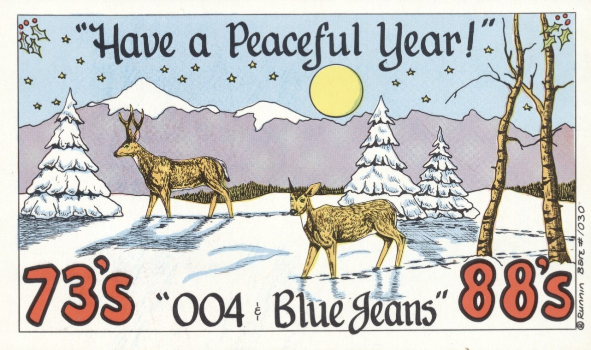 004 and Blue Jeans QSL card - 1970s - Artist: Runnin Bare - card No. 1030