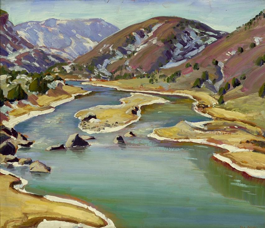 lawrenceleemagnuson:Ila Mae McAfee (USA 1897-1995)Rio Chama (NM), Winteroil on board