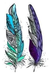 purple feather tattoos