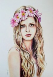 > girl with flower