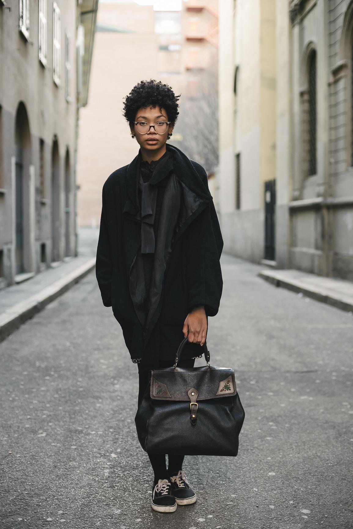 Style Vintage Street Style Model Black Girls Bag Outfit Black