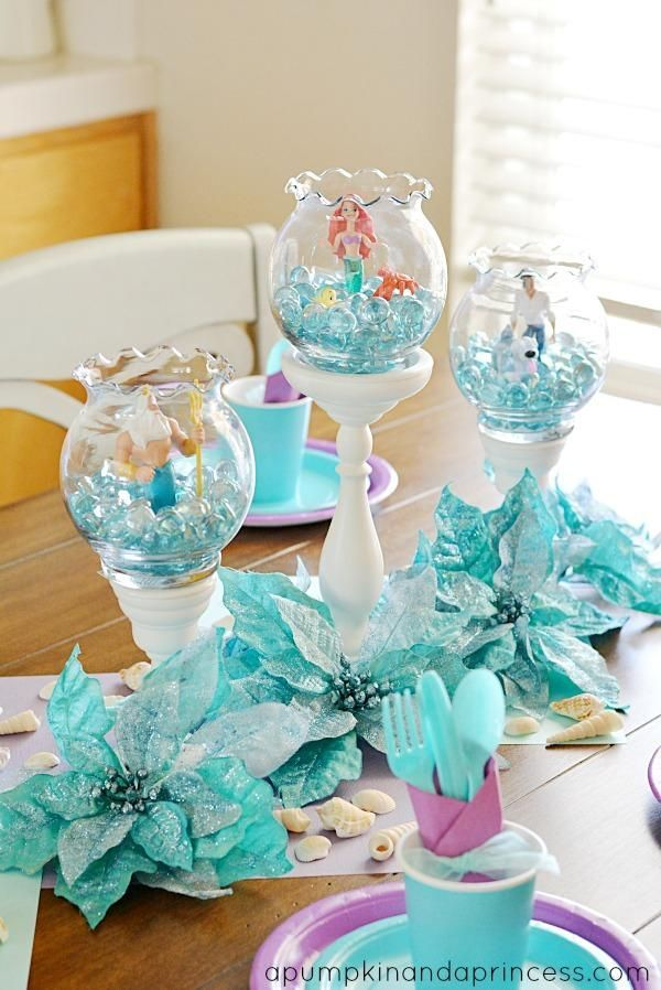 DIY Little Mermaid Table scape Centerpieces can