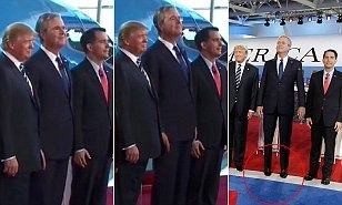 Here's a bizarre moment from the debate last night .. Jeb Bush wanted to tower above Trump so much he actually stood on his tiptoes for s group shot of the candidates .. http://www.dailymail.co.uk/news/article-3237930/Jeb-Bush-gets-head-Republican-candidates-manages-tower-Donald-Trump-stands-tiptoes-group-photo.html