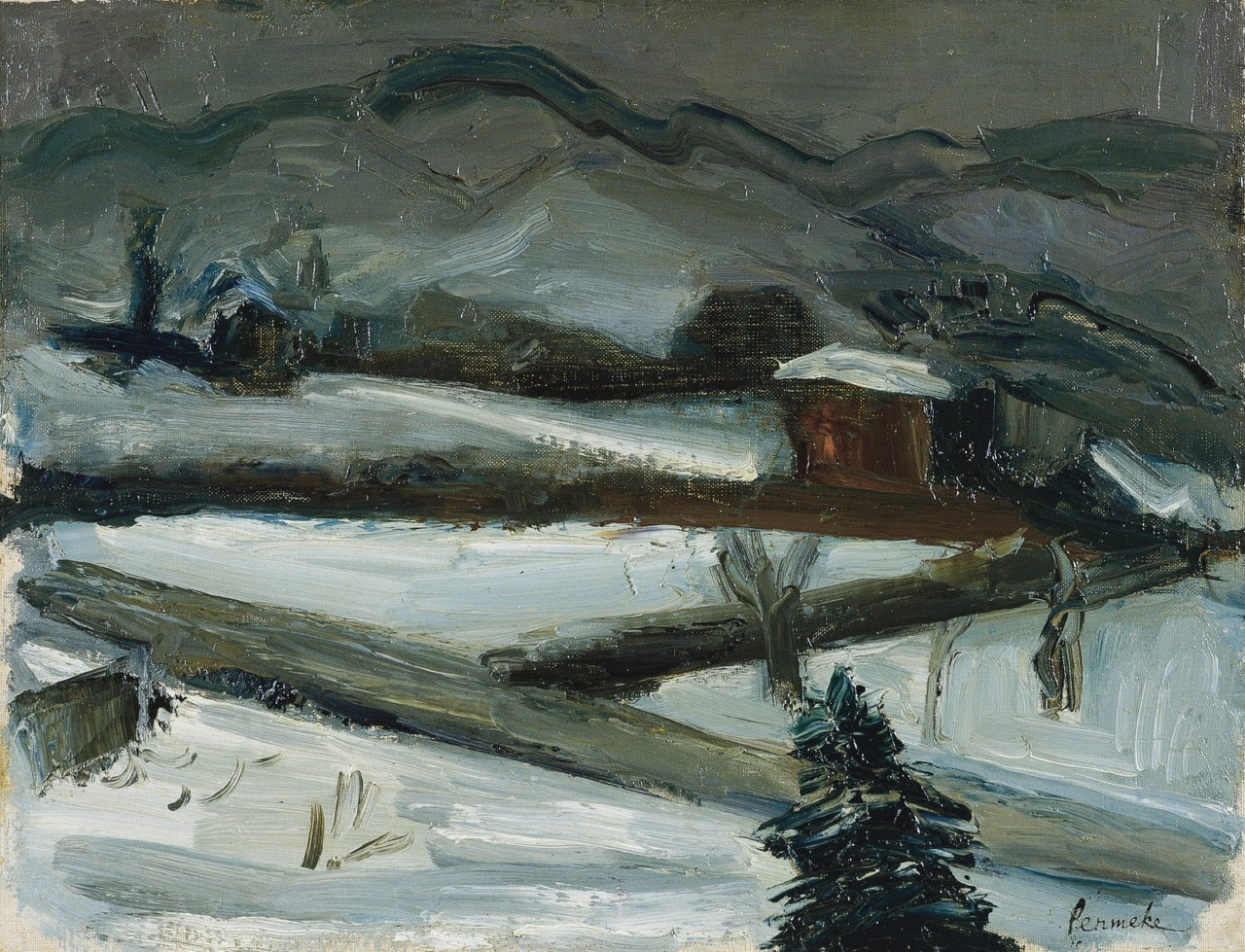 amare-habeo:  Constant Permeke (Belgian, 1886 - 1952)   Winter in Vevey, Swithzerland, 1925 Oil on canvas